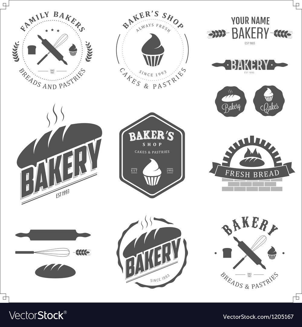 Set of vintage bakery labels and design elements vector image