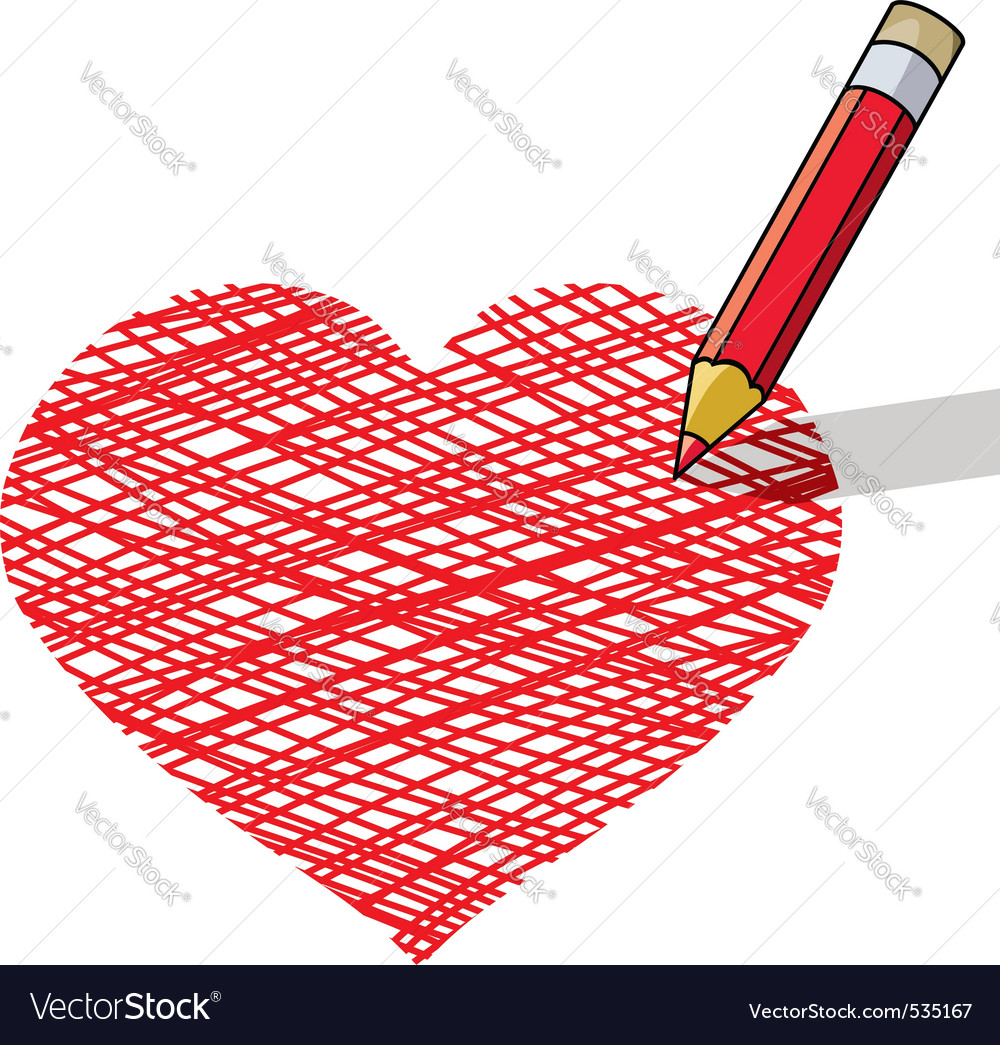 Vector illustration of pencil draws a heart vector image