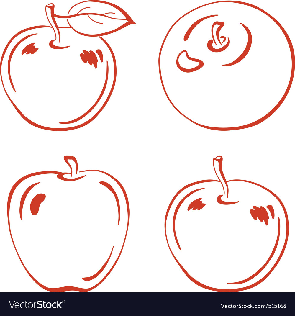 Fruits outline apples Royalty Free Vector Image