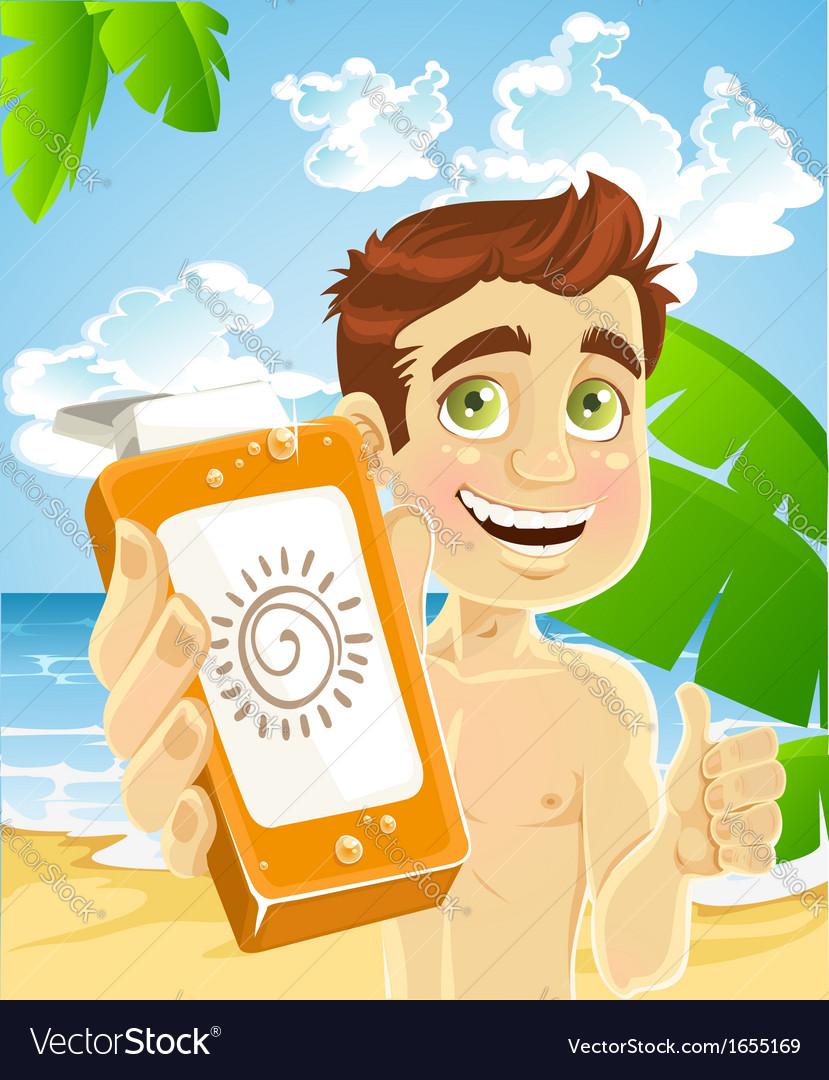 Man on the beach with cream for sunburn vector image