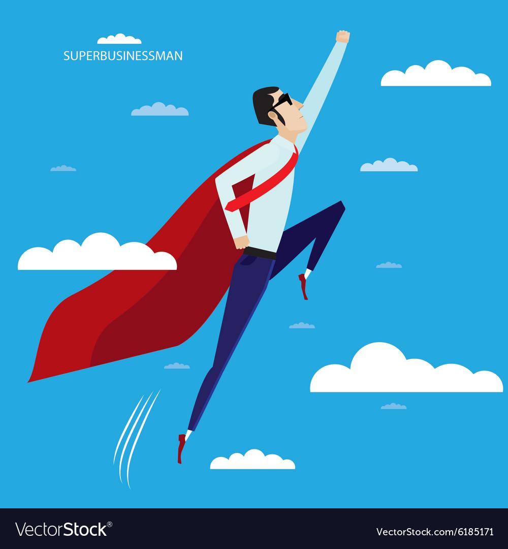 Superhero businessman flying in sky vector image