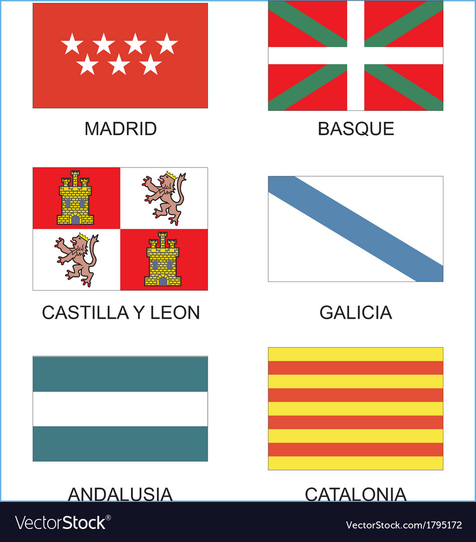 Spanish countries flags vector image