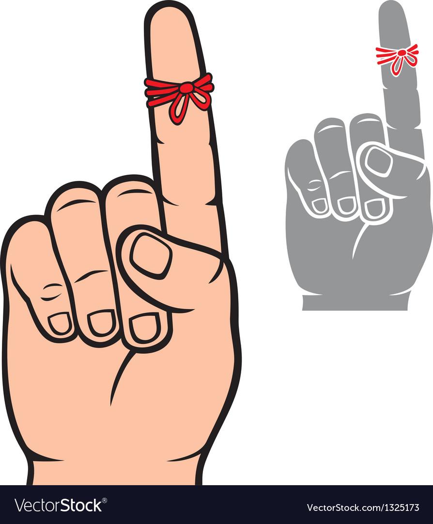 String around the finger reminder vector image