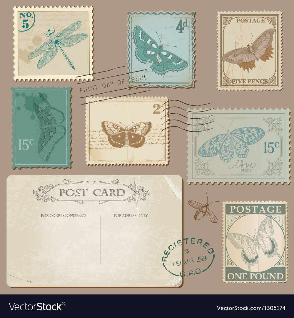 Vintage Postcard and Postage Stamps with Butterfli vector image