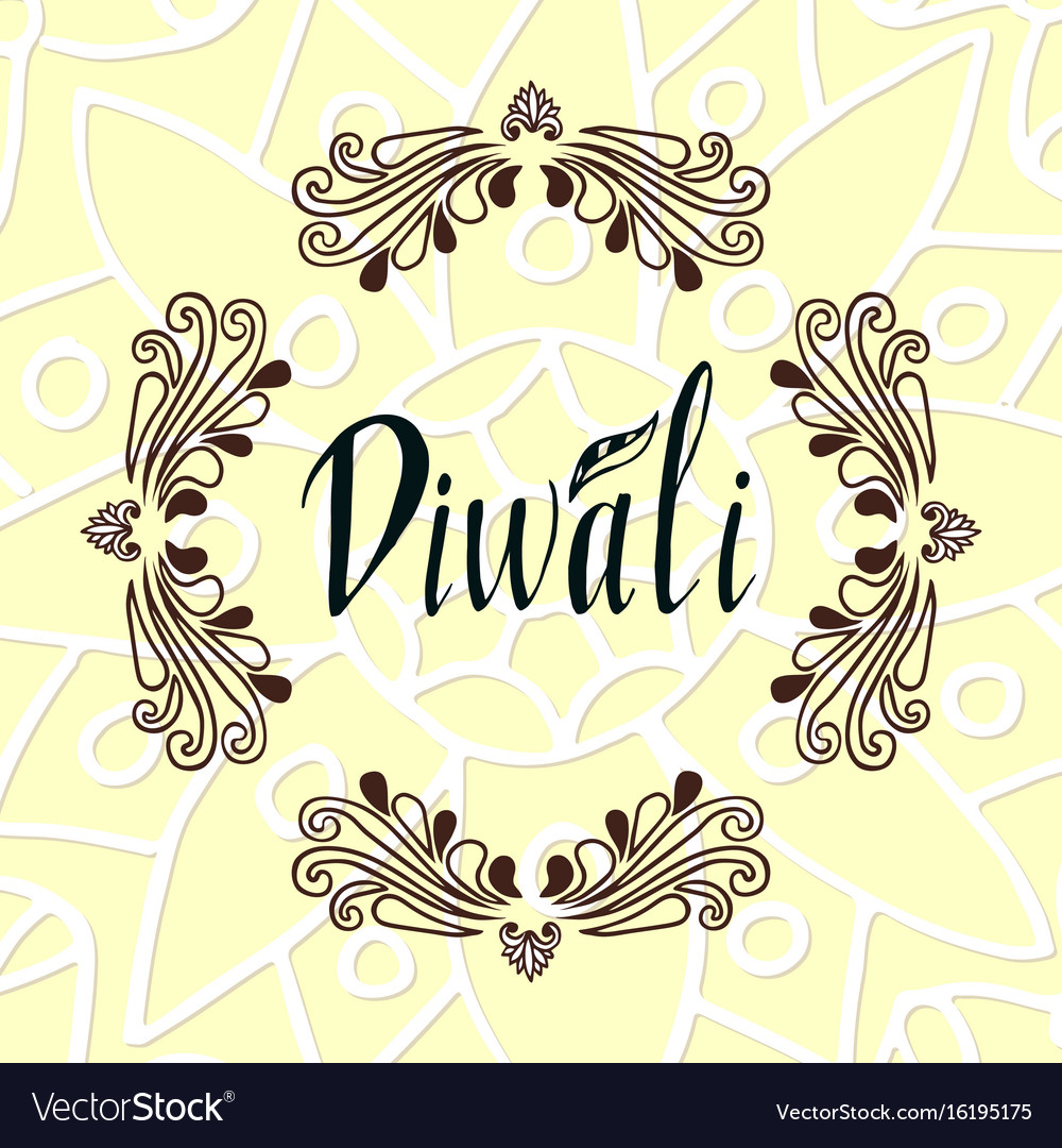 Happy diwali text design happy diwali card vector image
