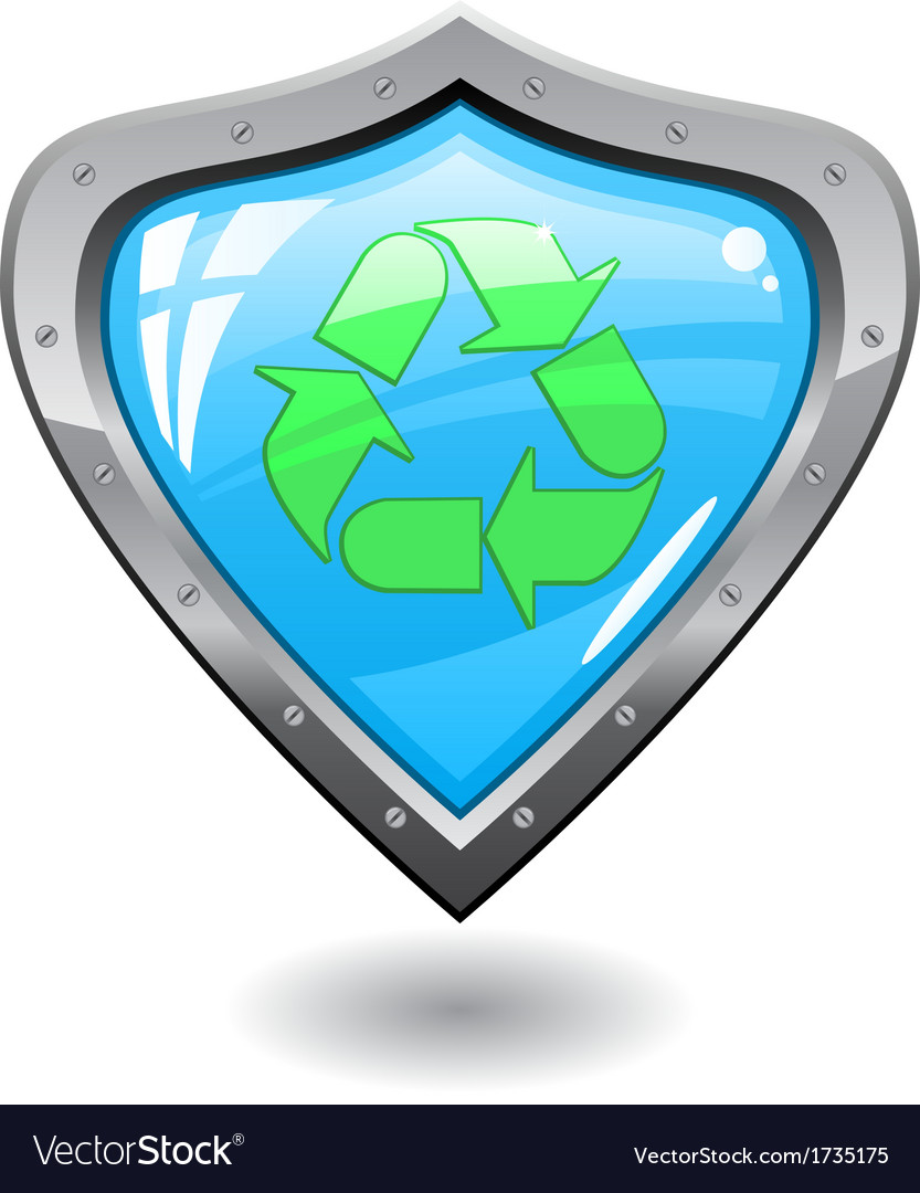 Recycling shield vector image
