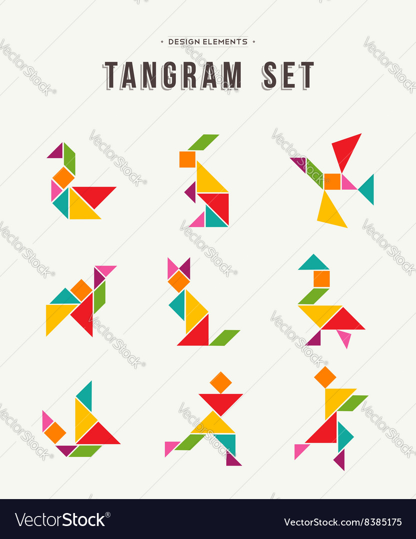 tangram set creative art of colorful animal shapes