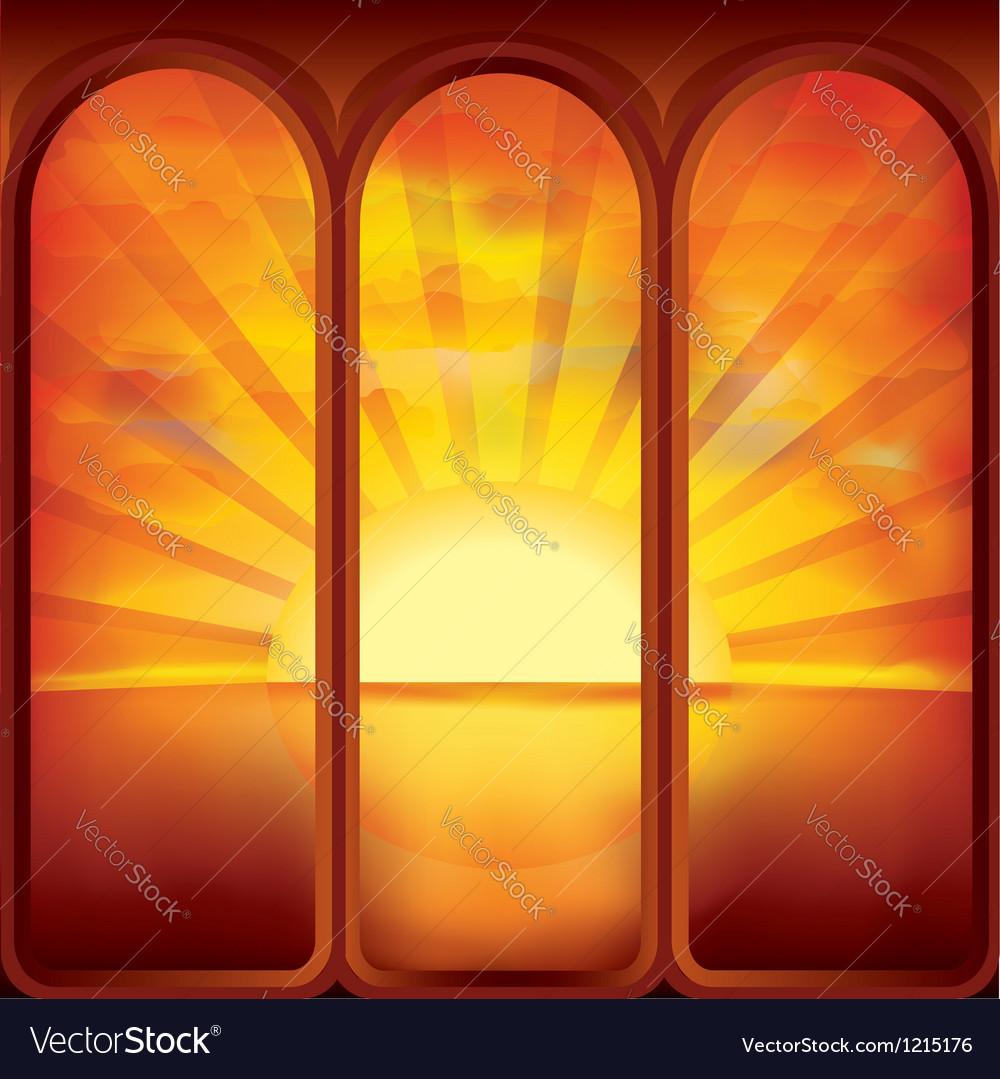 Sun in the window vector image