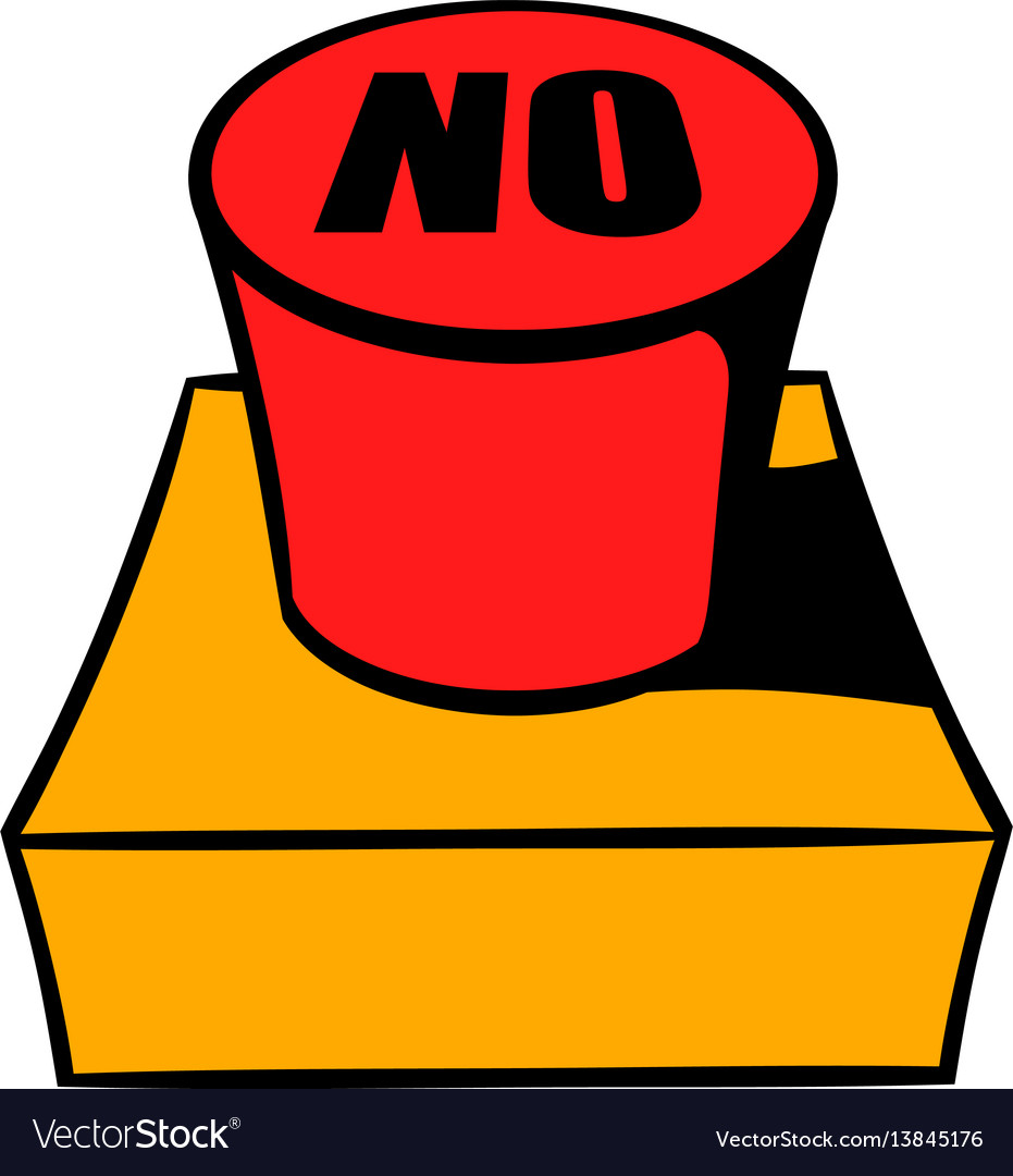 No red button icon cartoon vector image