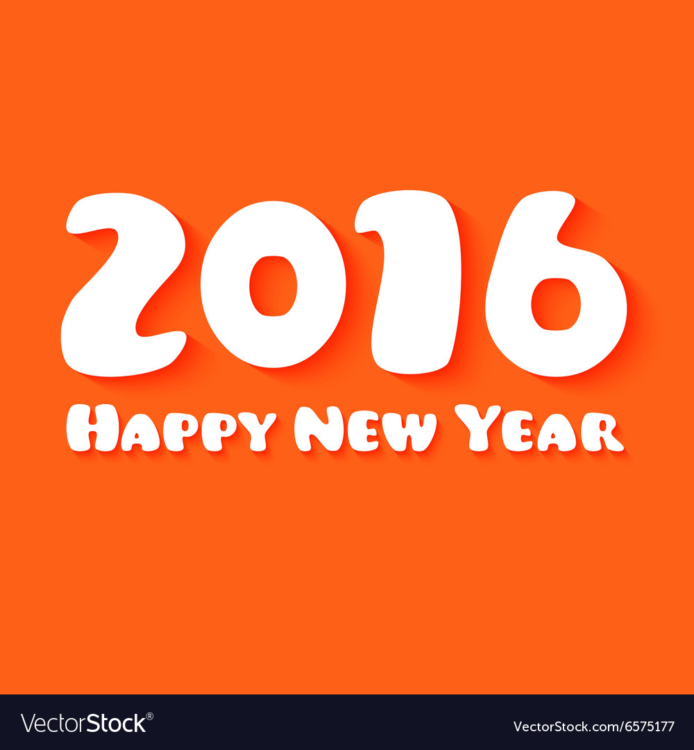 Happy New Year Paper text design on orange vector image