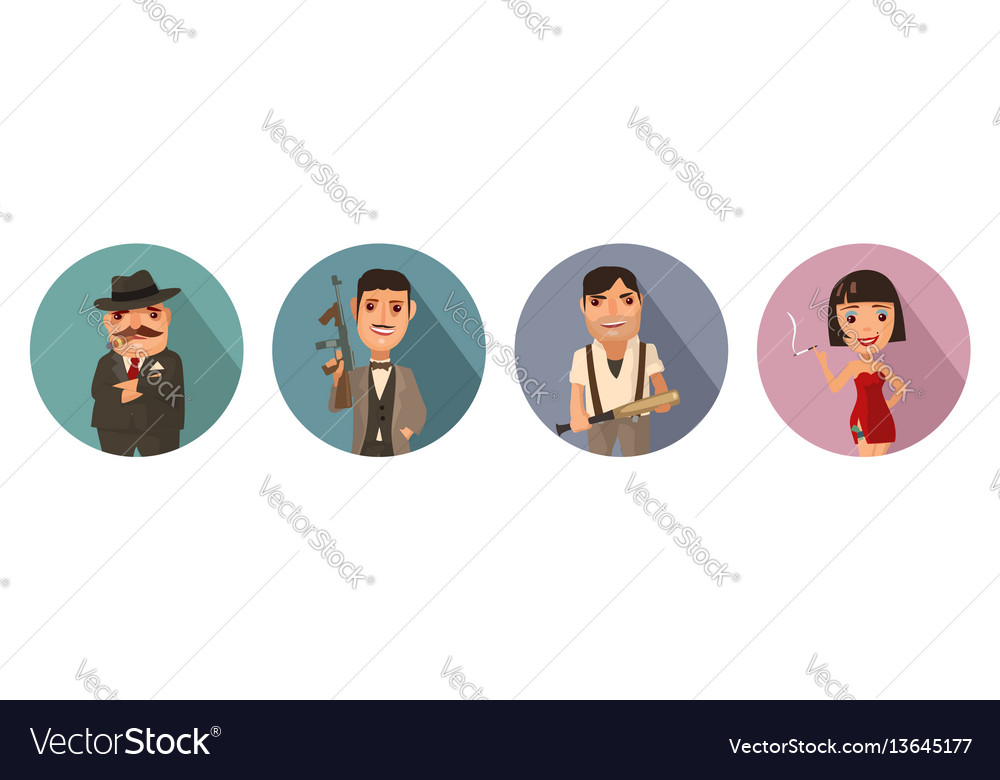 Set person mafia don capo soldier prostitute vector image