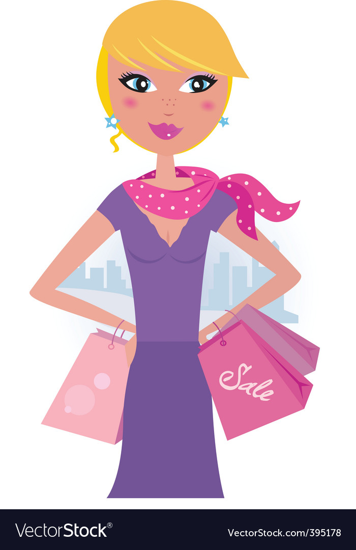 Happy blond woman on shopping vector image