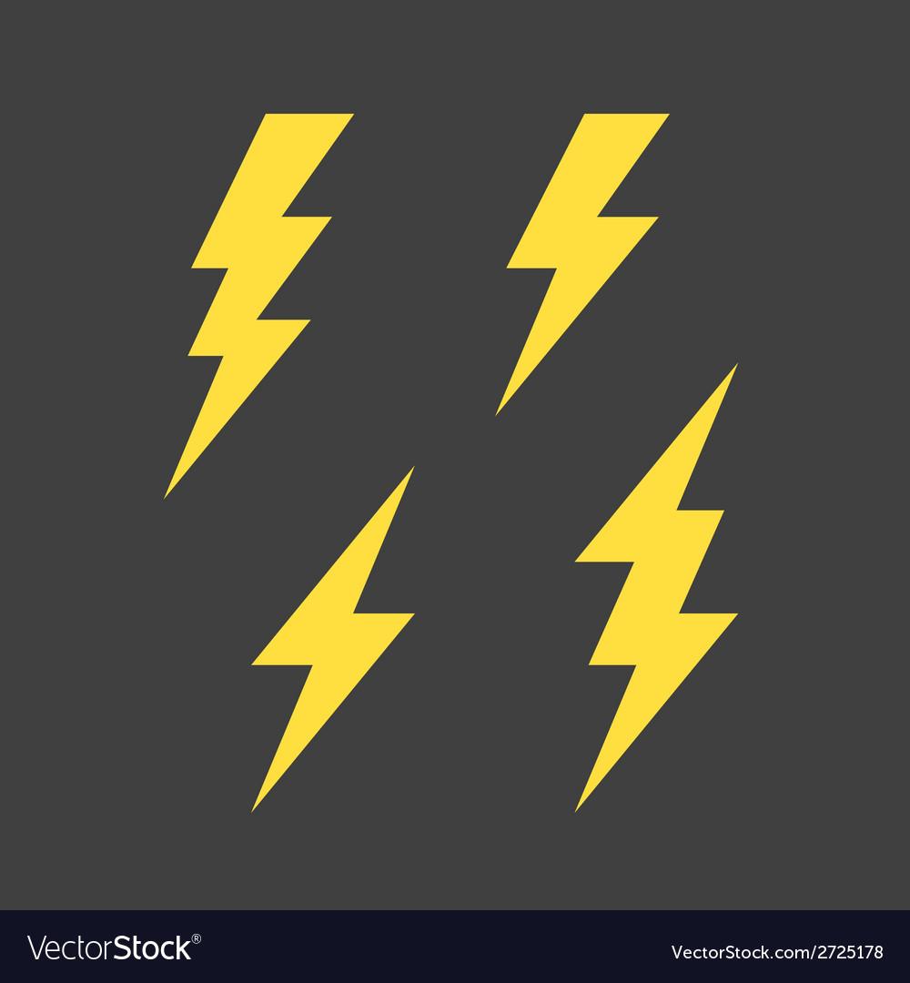Lightning symbols set vector image