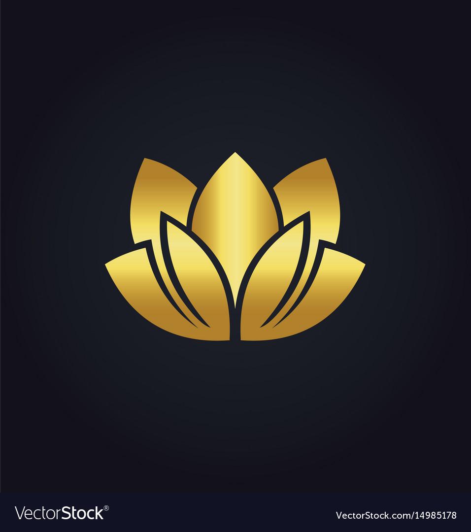 Lotus flower beauty spa gold logo royalty free vector image lotus flower beauty spa gold logo vector image izmirmasajfo Gallery