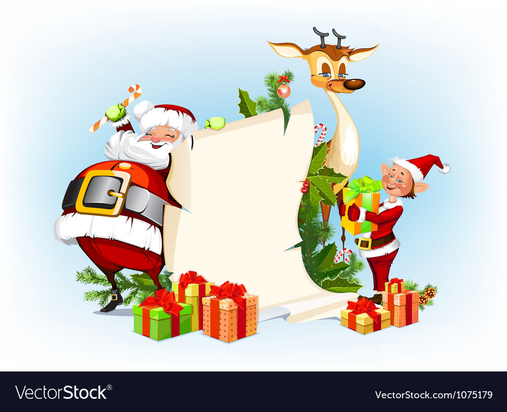 background with reindeer santa claus and his elves