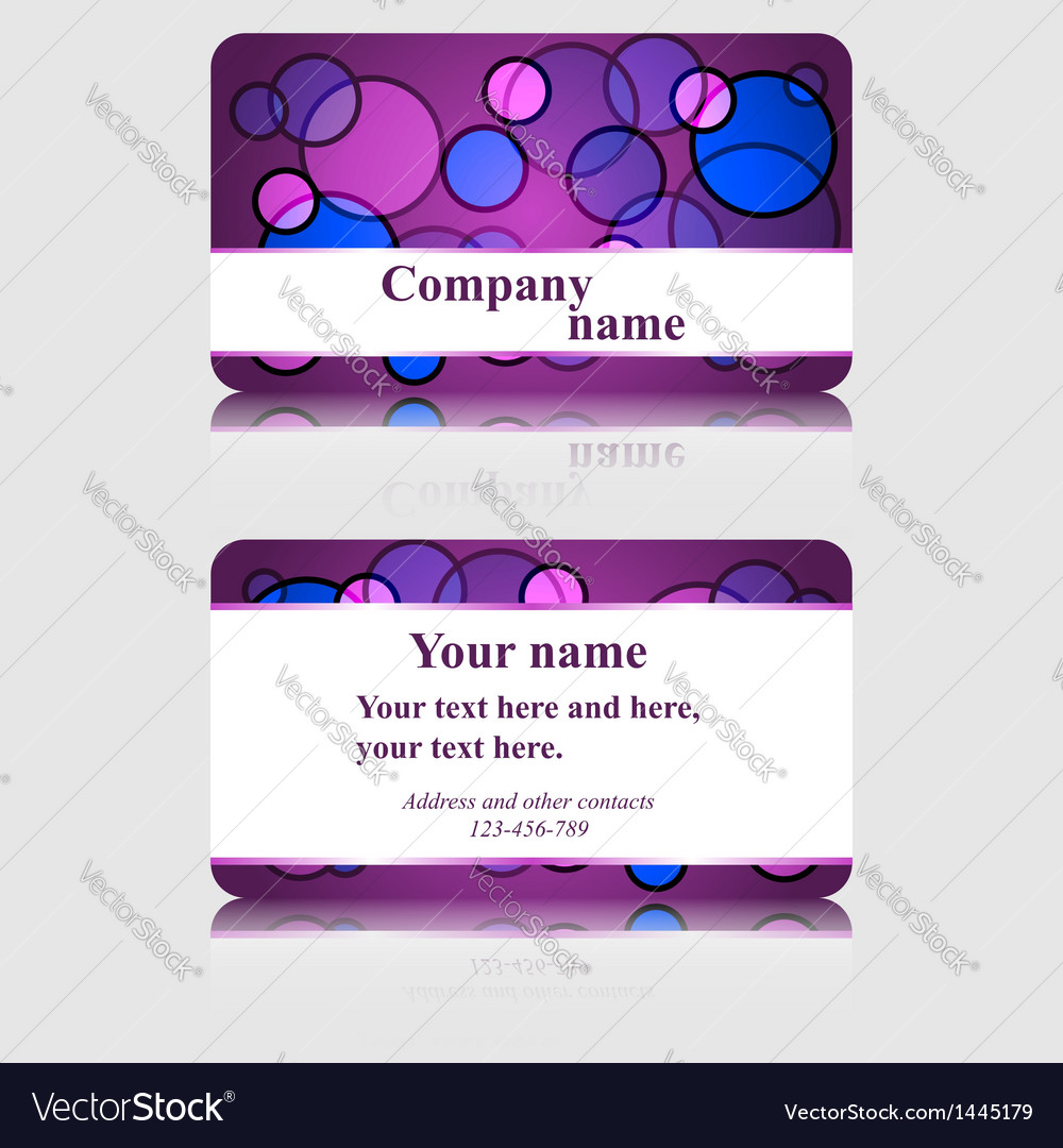 Purple business card with colorful circles Vector Image