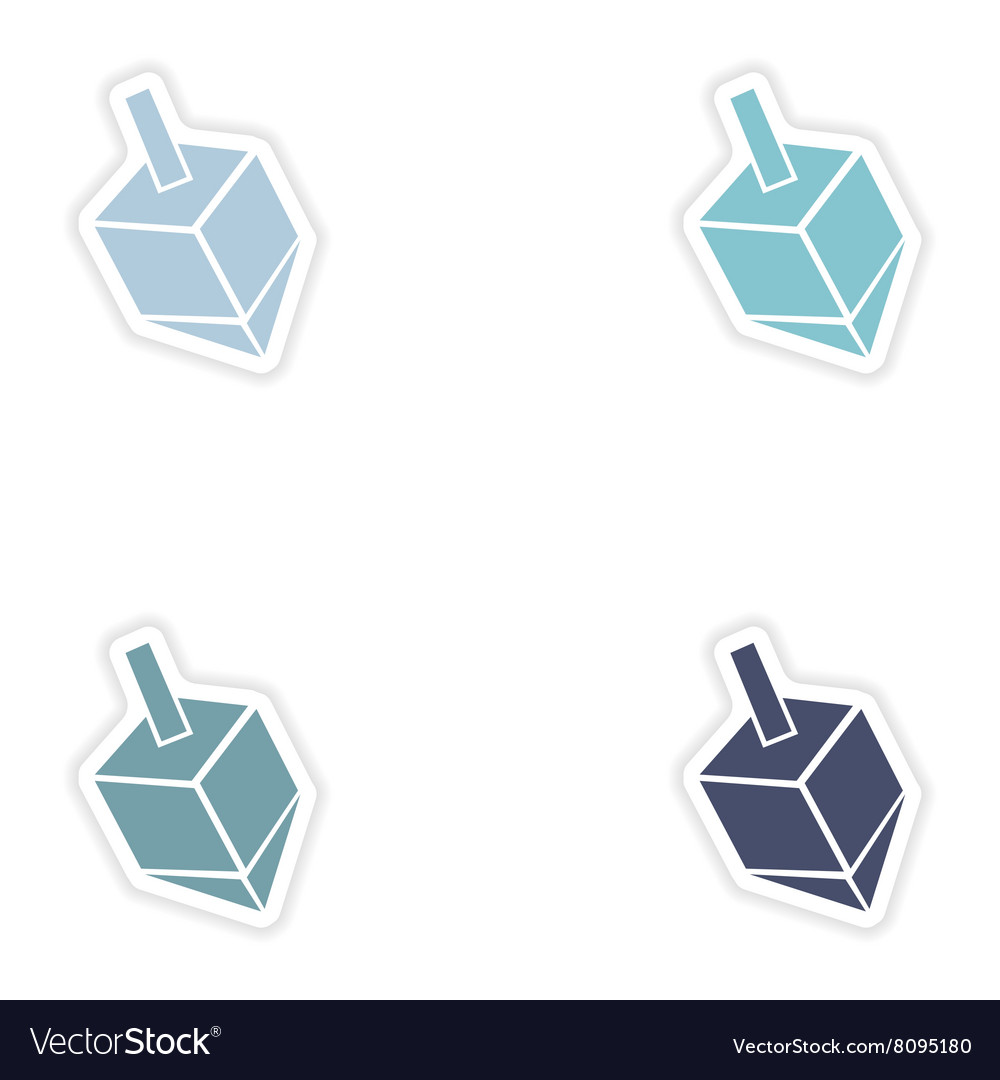 Set of paper stickers on white background Jewish