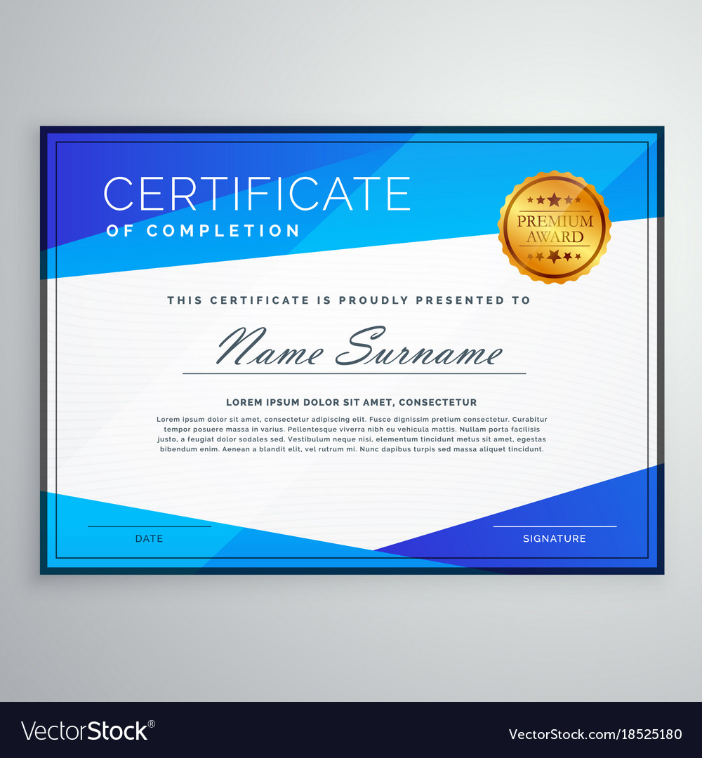 Stylish blue geometric certificate template design stylish blue geometric certificate template design vector image 1betcityfo Image collections