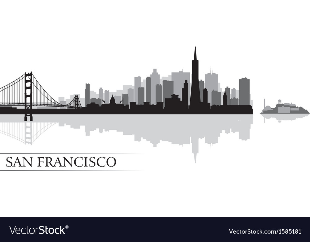 San Francisco city skyline silhouette background vector image