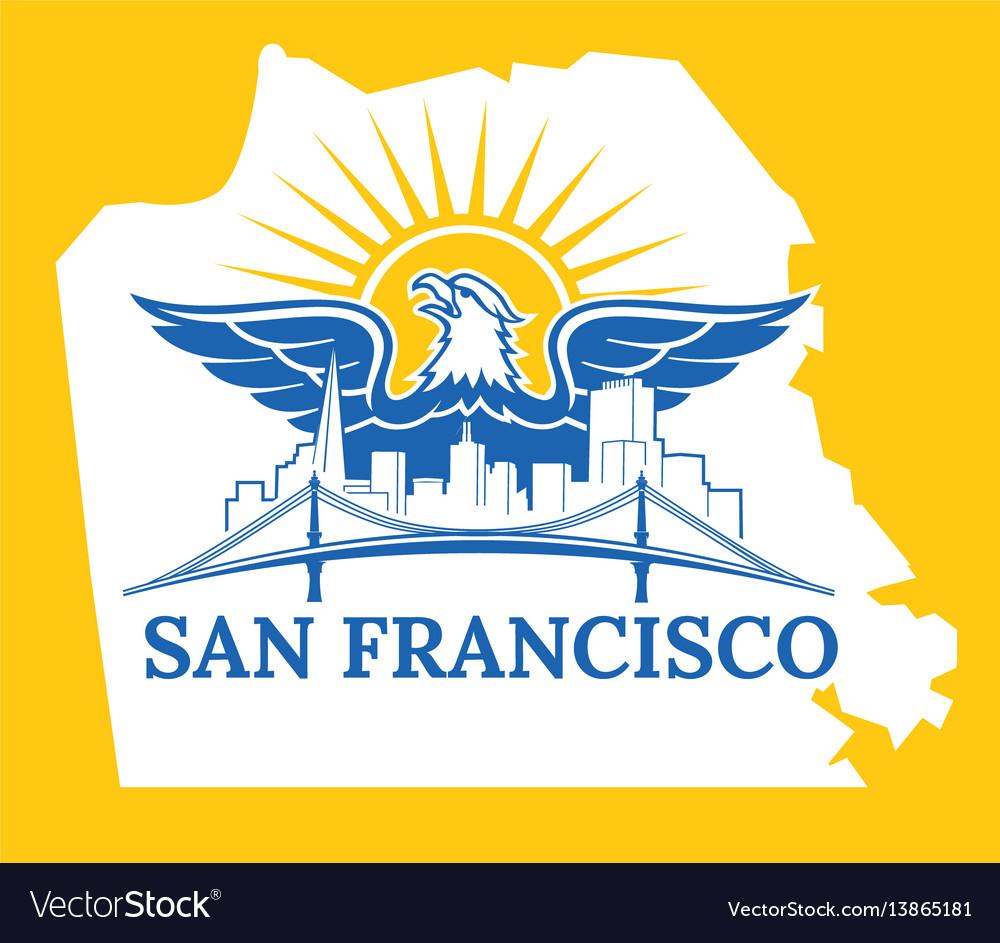 San francisco map color Royalty Free Vector Image