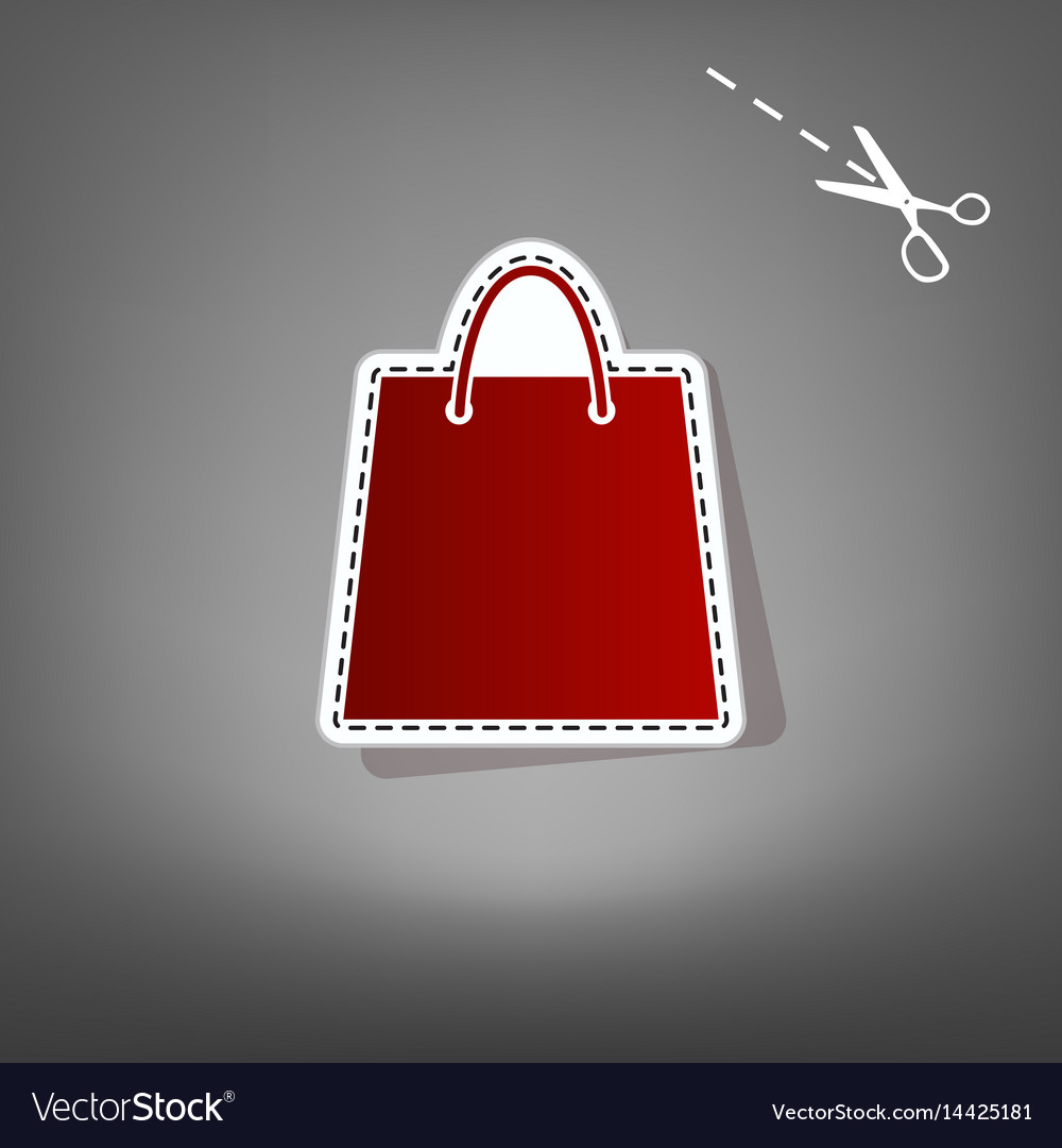 Shopping bag red icon with vector image