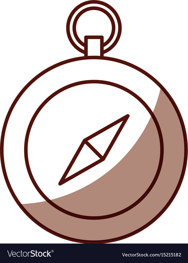 Shadow cute brown compass vector image