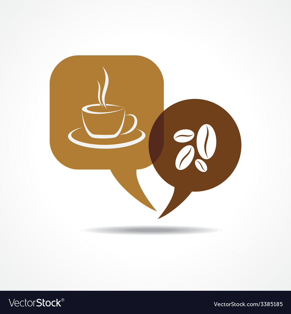 Coffee cup and beans in message bubble vector image
