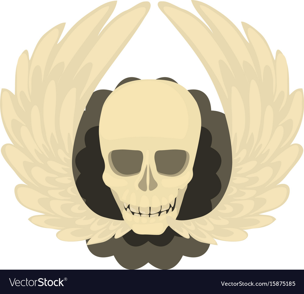 Skull with wings icon cartoon style vector image