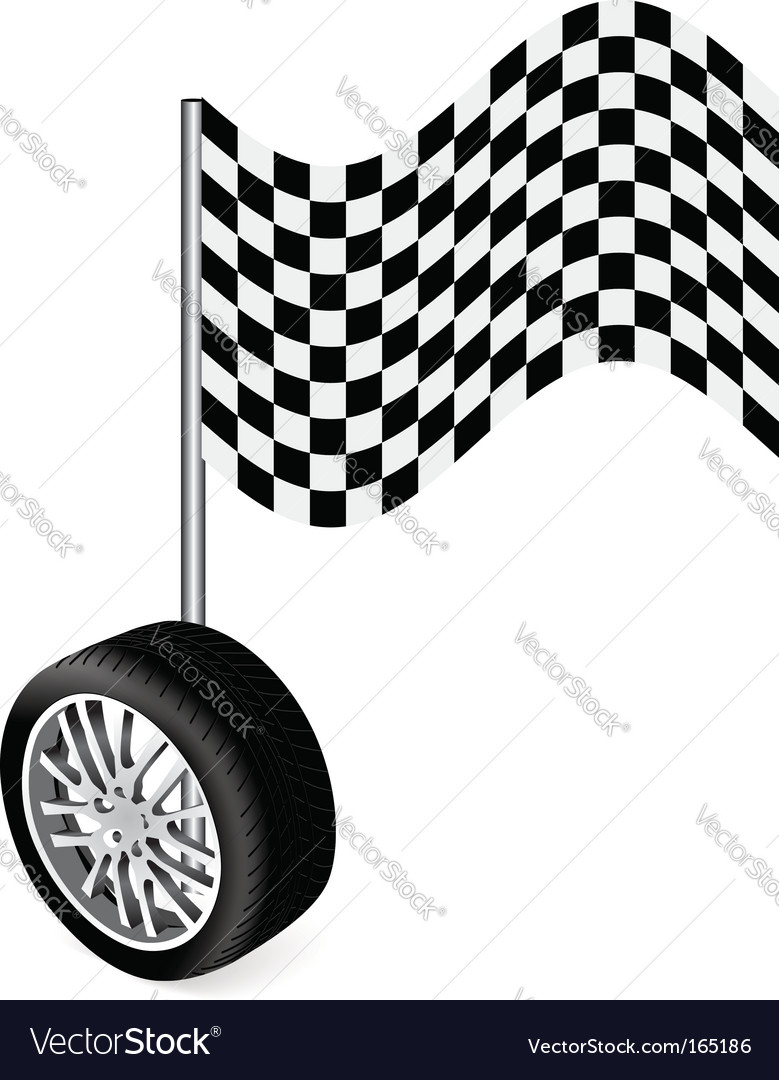 Wheel with racing flag vector image