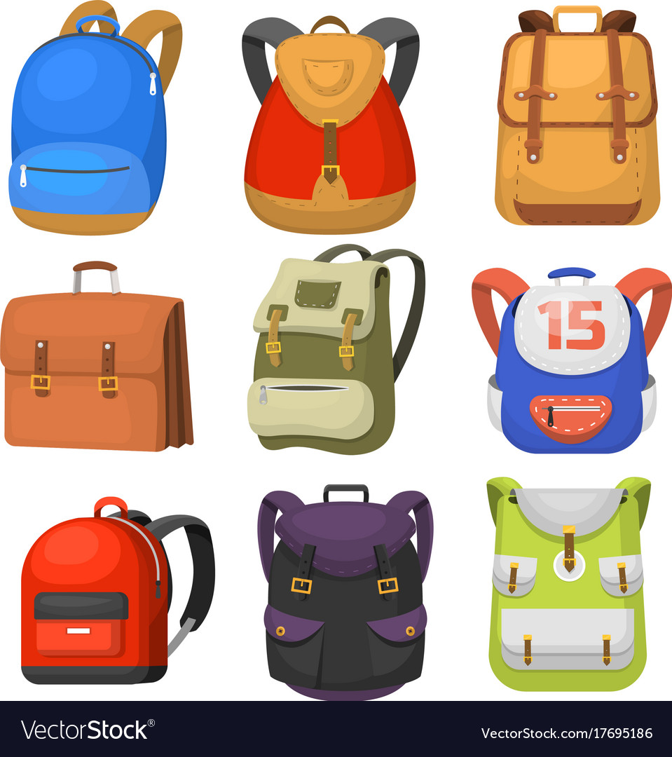 Back to school kids school backpack Royalty Free Vector