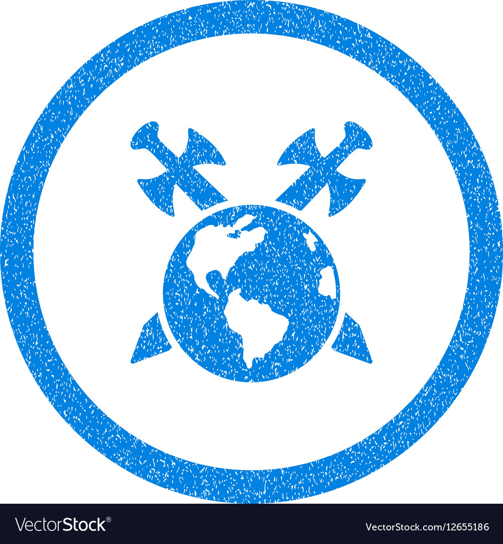 Earth Swords Rounded Icon Rubber Stamp vector image