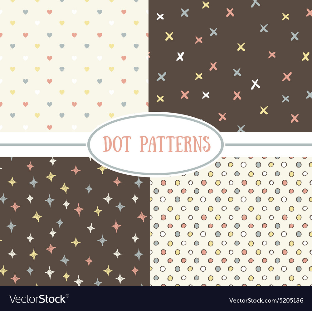 Set of seamless cute retro patterns vector image