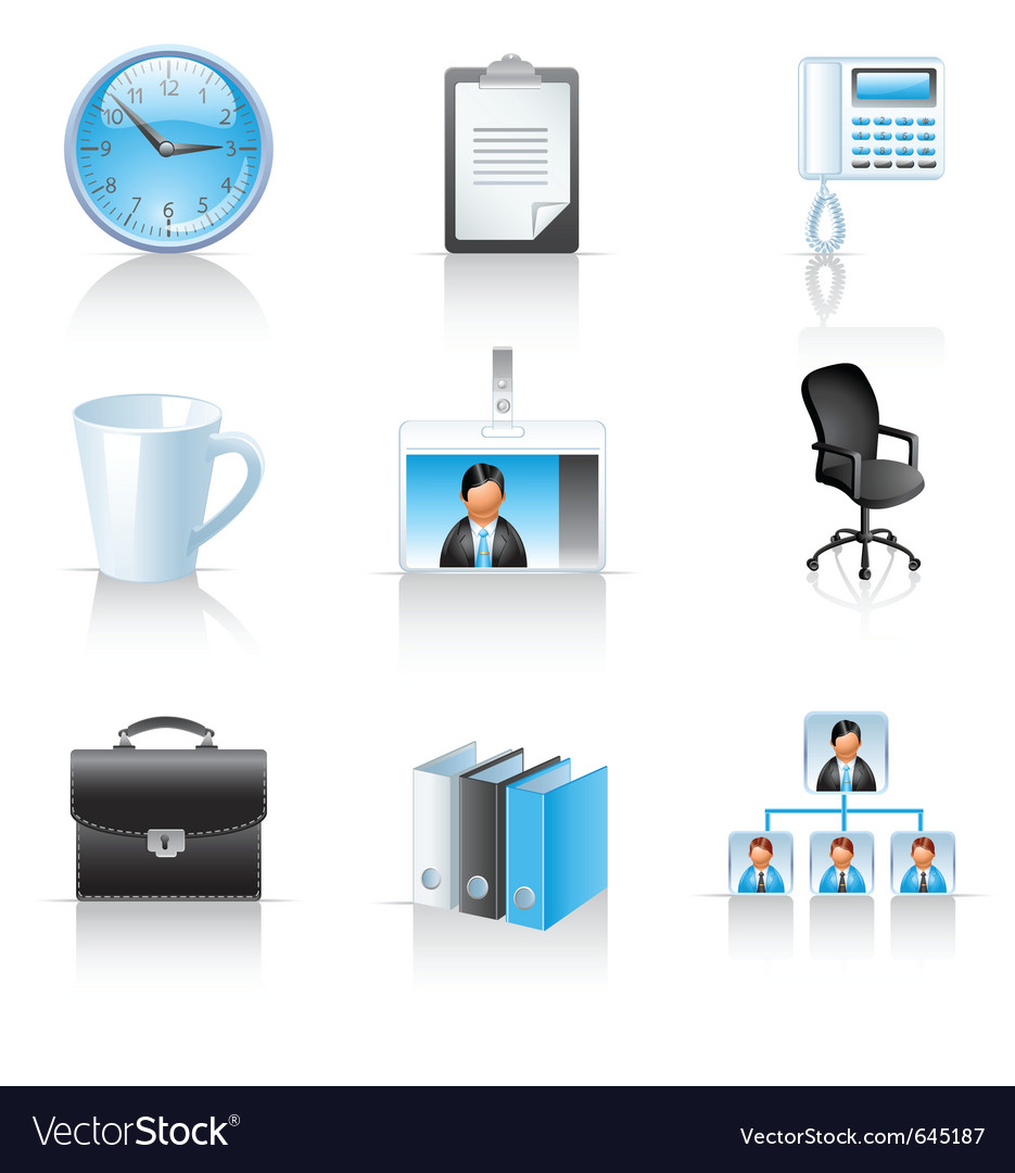 Office and business icons vector image
