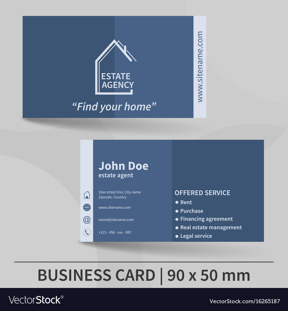 Business card template real estate agency design vector image cheaphphosting Gallery