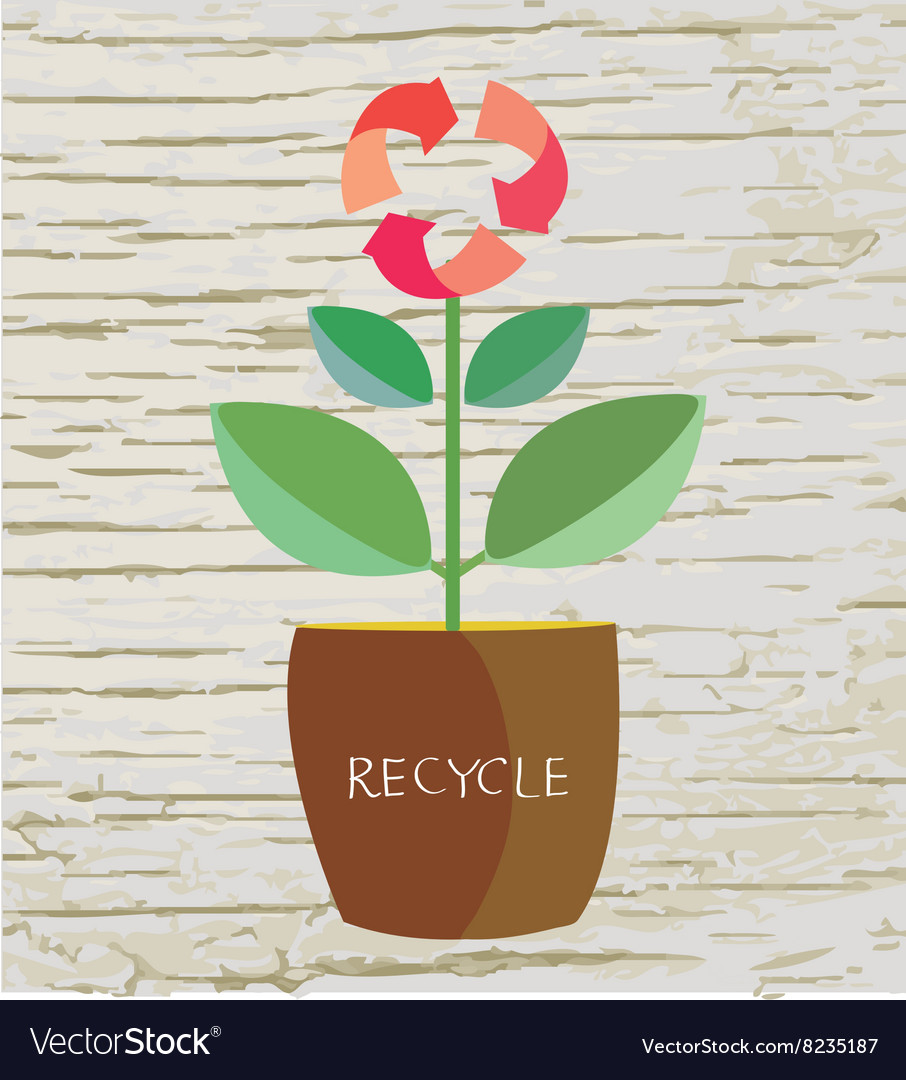 Ecology concept with flower and recycle sign vector image