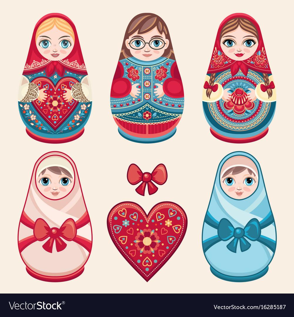 Matryoshka babushka doll set vector image