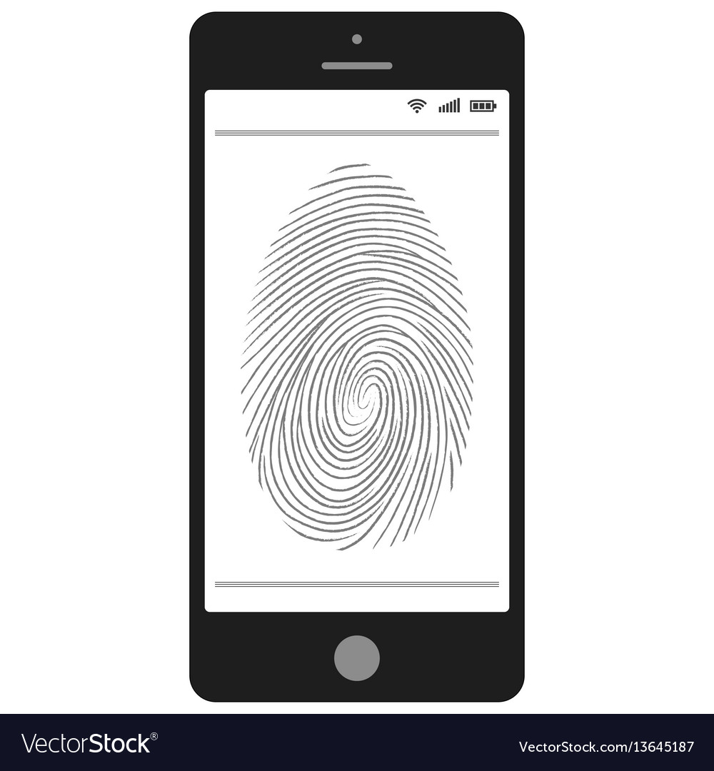 Scanning of the fingerprint on the mobile phone vector image
