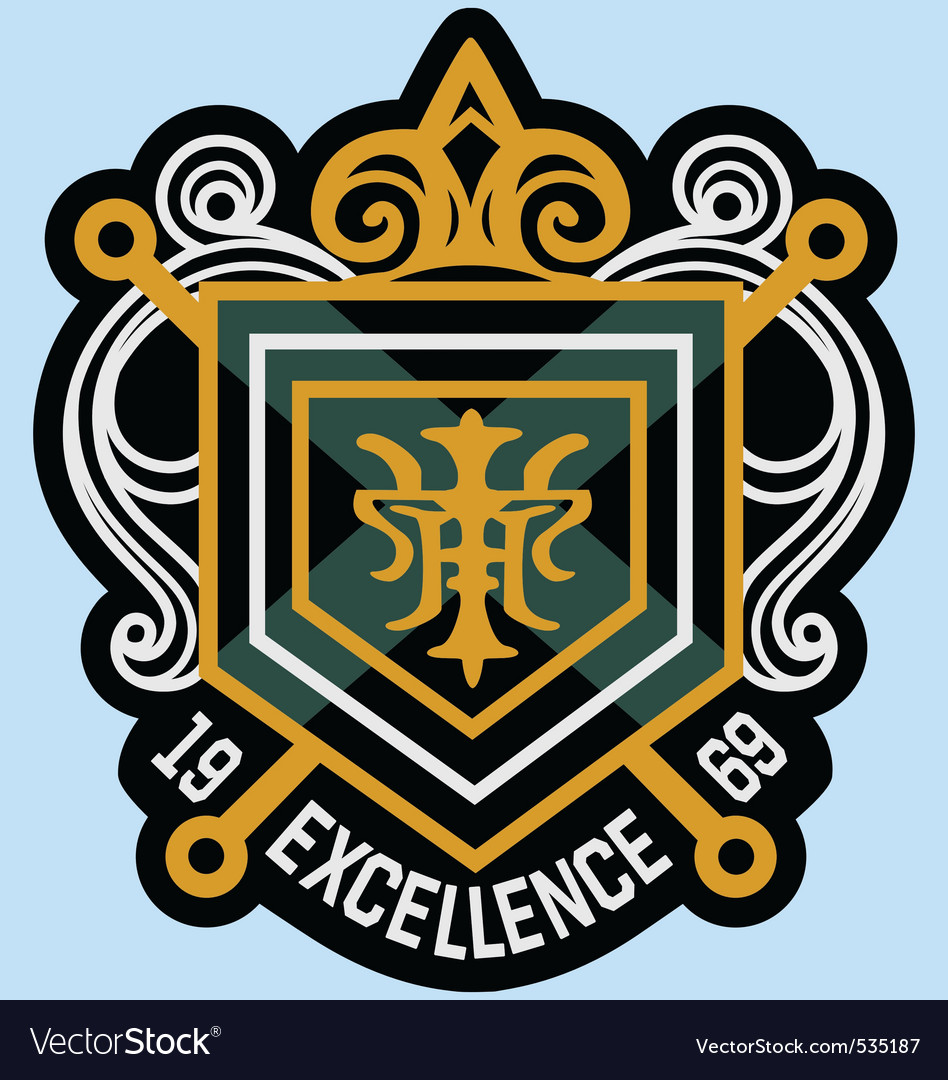 Scroll emblem badge vector image