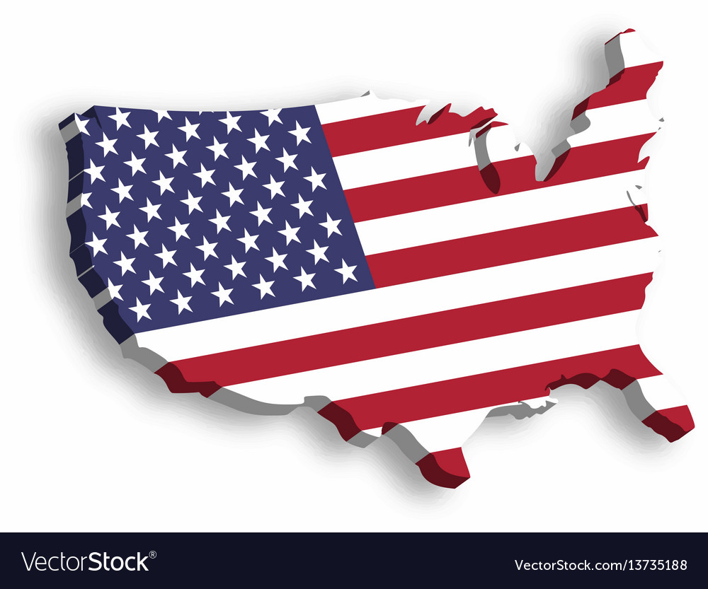3d map of usa aka united states of america in a vector image