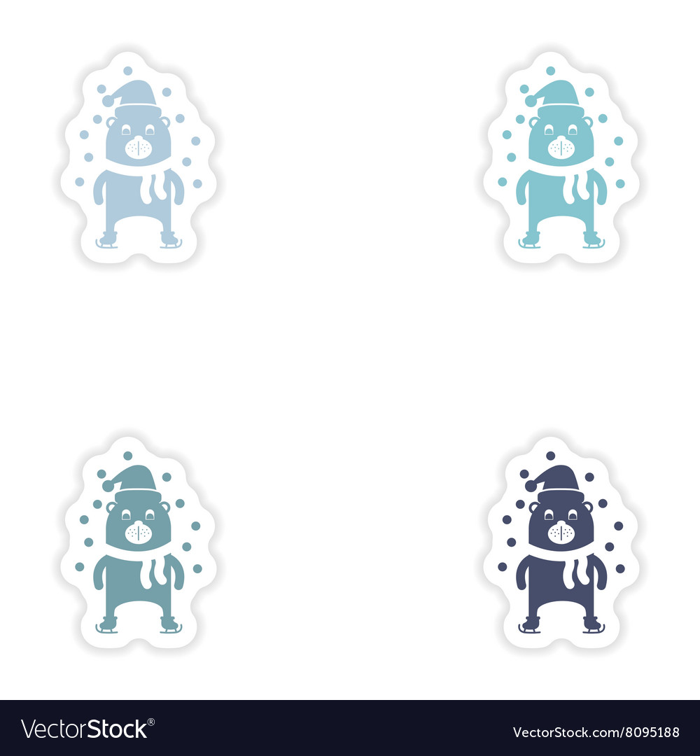 Set of paper stickers on white background Bear