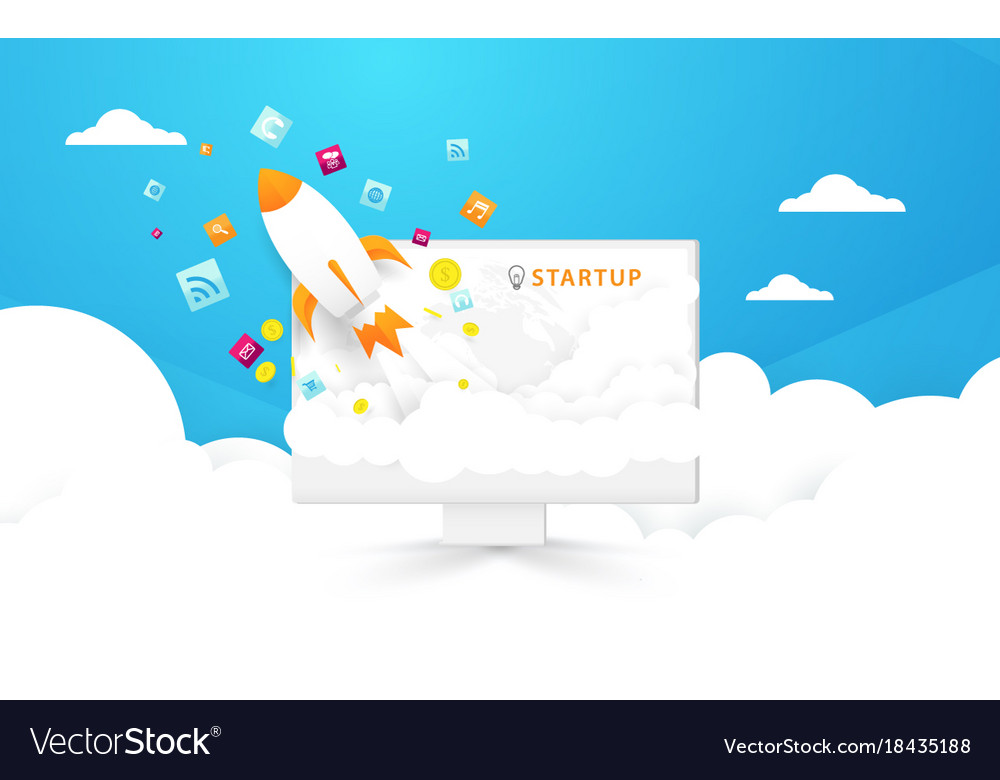 Start up background computer and rocket launch vector image