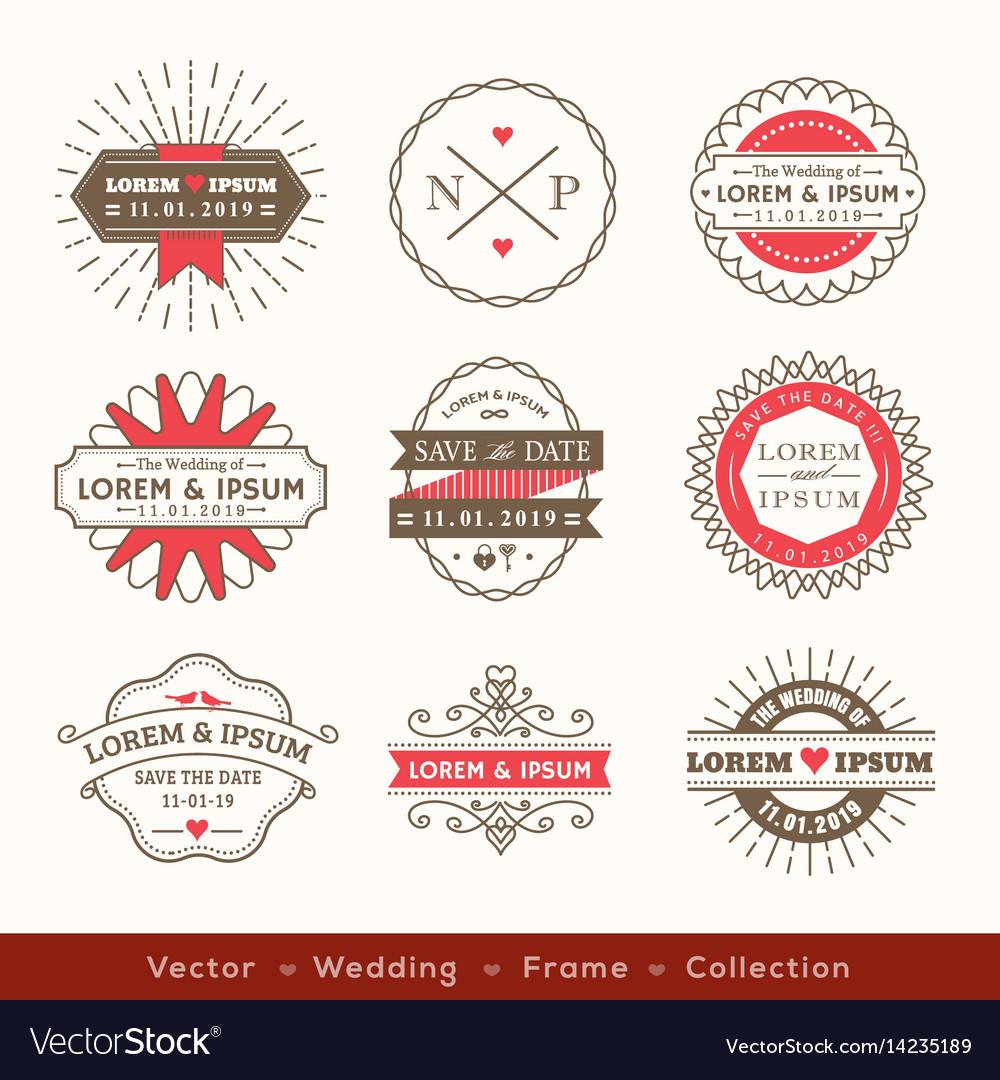 retro modern hipster wedding logo frame badge royalty free