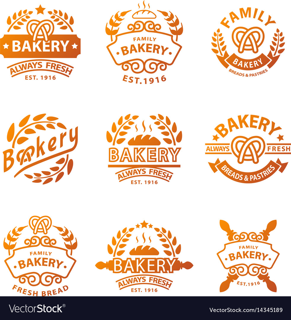 Bakery gold badge icon fashion modern style wheat vector image