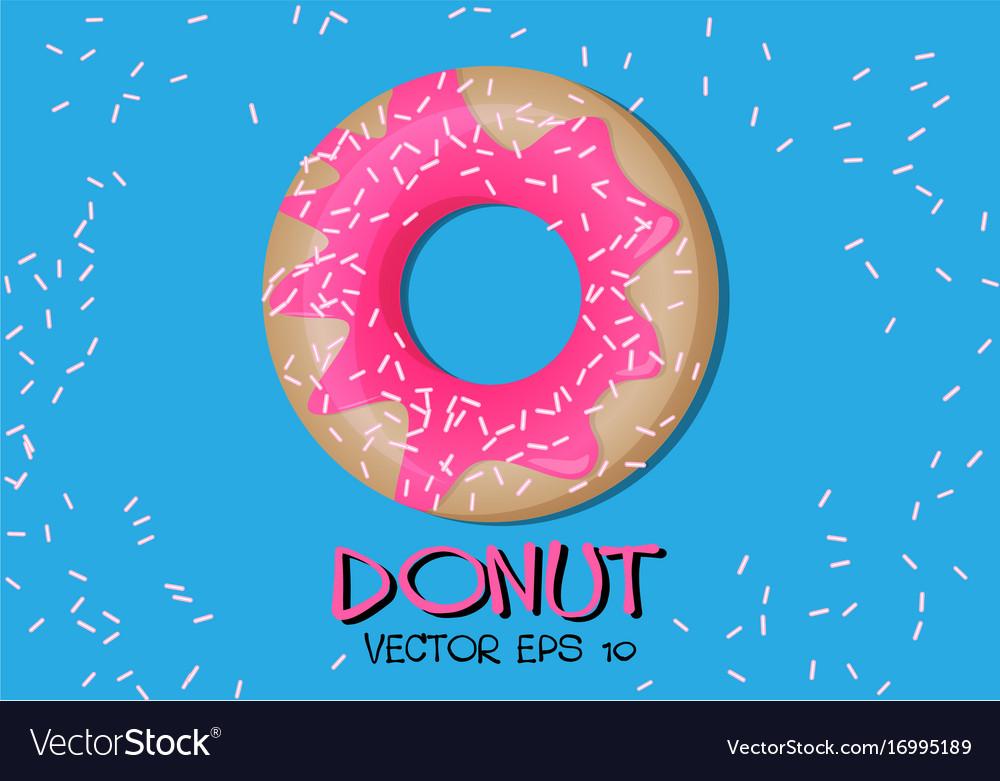 Donut pink glaze on blue vector image