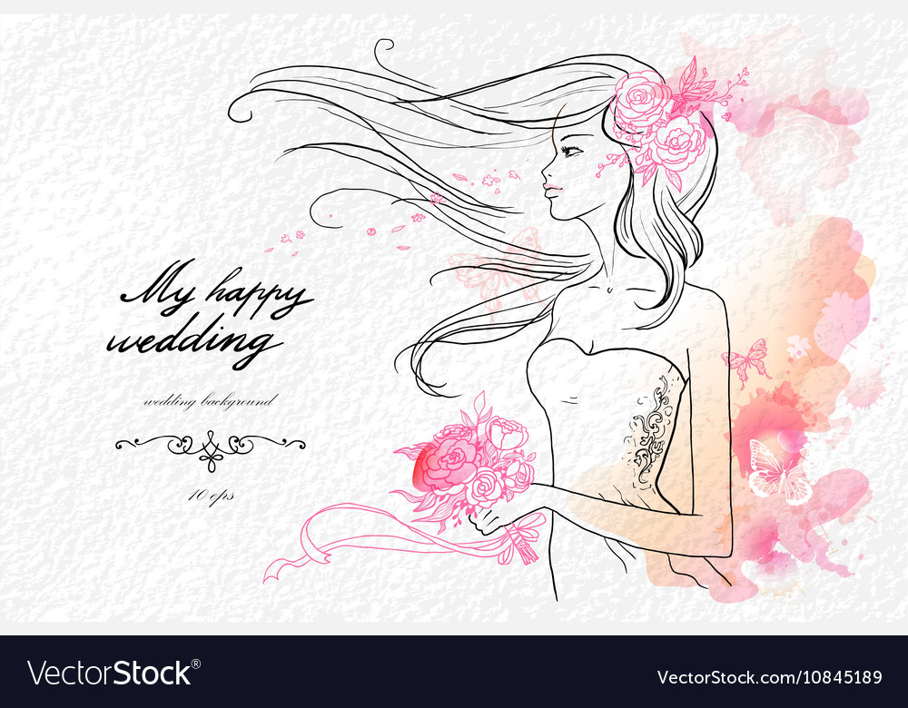 Wedding watercolor background vector image