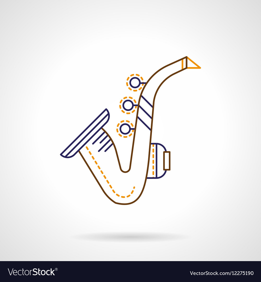 Flat line icon for sax vector image