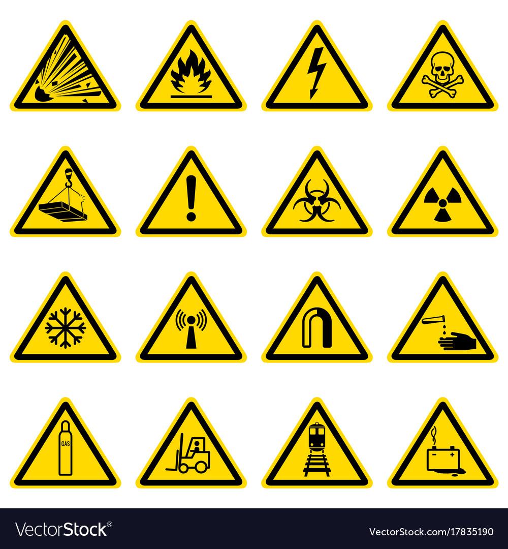 Warning and hazard symbols on yellow triangles vector image biocorpaavc Gallery