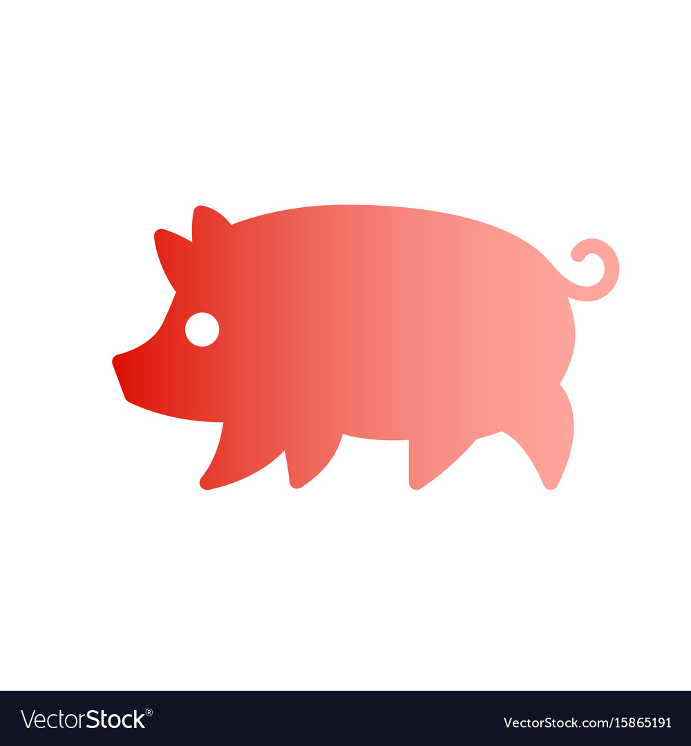 Gradient silhouette drawing of pig vector image