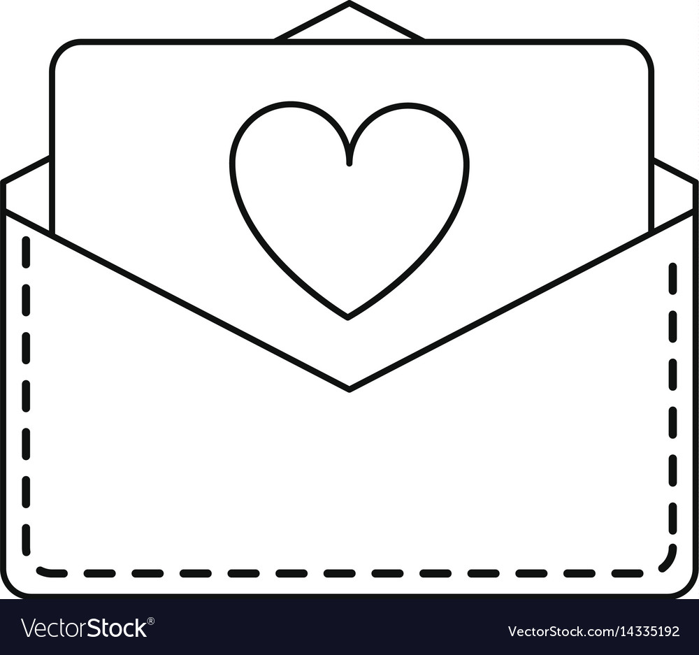 Love heart envelope mail valentine letter lin Vector Image