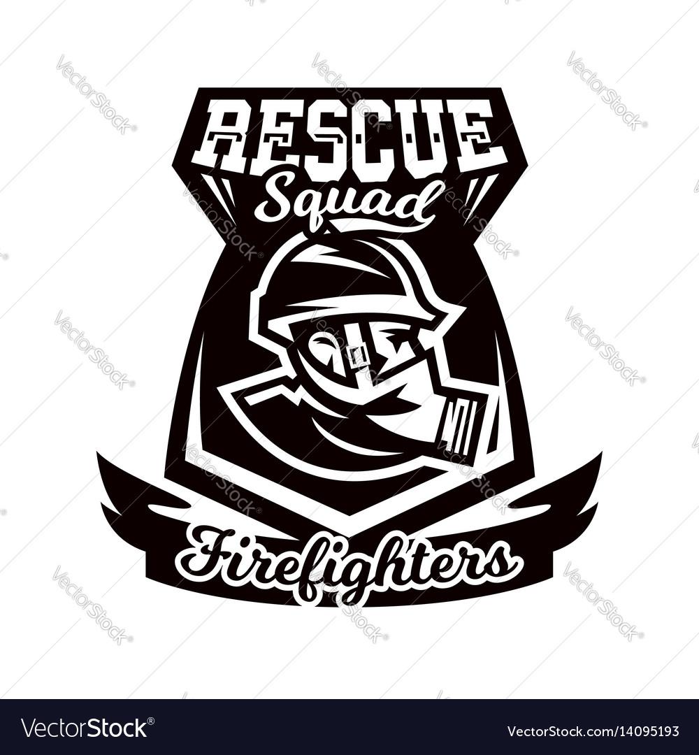 Monochrome logo emblem fireman in a gas mask vector image